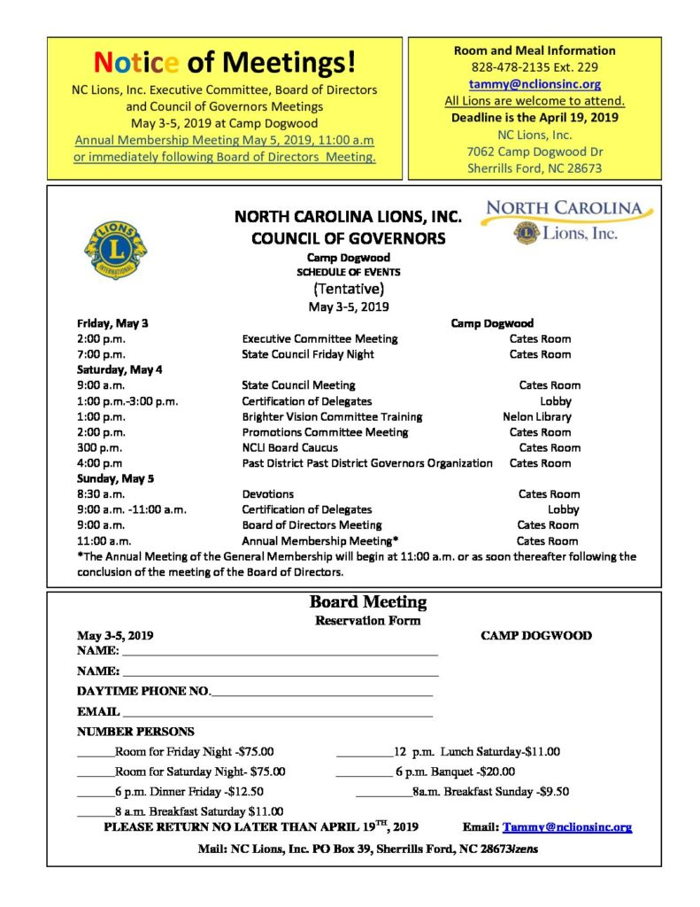Notice of Meetings Flyer for the NCLI Board of Directors Meeting at Camp Dogwood, from May 3-5, 2019. Clicking on image send you to a link which allows you to download a PDF of the registration. April 19th is the deadline for registering for this event. Contact Tammy at tammy@nclionsinc.org or call 828-478-2135 Ext. 229 for Room and Meal Information.